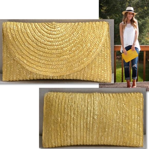 Shirleah Summer Yellow Straw Large Clutch